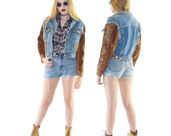 Denim 90s Horse Hair Jean Jacket, 90s Western Cropped Jacket, 90s Vintage, Women's Size Medium