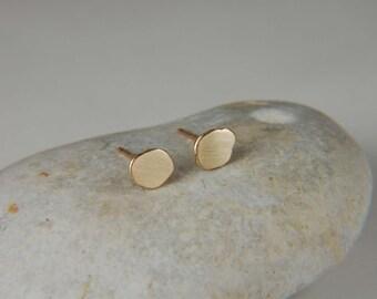 Solid Gold Earrings Rustic Gold Earrings Organic Gold Earrings Minimalist Earrings 14K Gold Stud Earrings