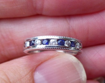 Sapphire and diamonds  Stacker Ring or Wedding Ring in 14Kt white gold  with Millgrain