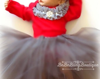 Baby girls' CHRISTMAS clothing set, silver tutu, feather shoes, red bodysuit outfit, pearls and rhinestone headband Baby Girl Diva