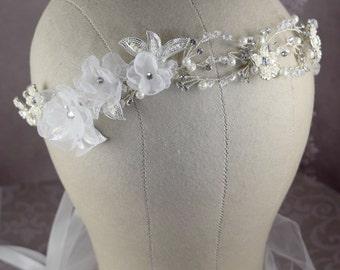 Bridal hair vine, Floral crown, Crystal bridal headpiece,Boho bridal headpiece,  Wedding tiara, Silver bridal headband, Handmade flowers