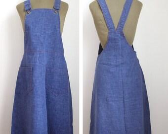 70s OVERALL DRESS // 70s  Denim dress //