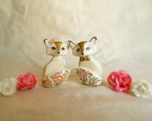 Fox wedding cake topper. One of a kind, ready to ship.