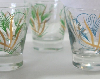 Vintage Cordial Liqueur Shot or Juice Glasses Set of 6 glass Retro Mid Century Barware Feathers Metallic Gold Accents Yellow Green Turquoise