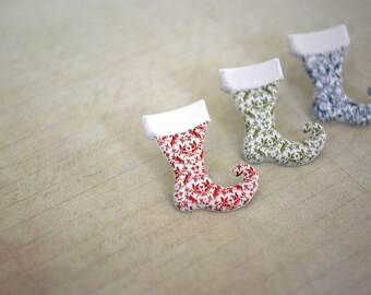 Christmas Stocking Earrings -- Christmas Stocking Studs, Stocking Studs, Christmas Earrings, Stocking Stuffer