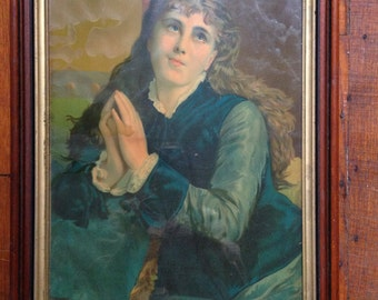 "Victorian Lithograph ""Devotion"" Free US SHIP"