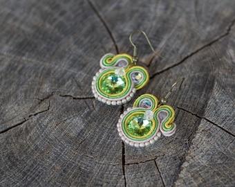 SALE Dangle soutache earrings  green yellow soutache jewelry  small simple earring  swarovski rivoli earrings beige earrings