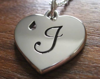Handmade Chunky Silver Personalised Heart Pendant Necklace