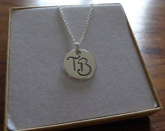 Hand made Silver Initial Charm, Pendant Necklace