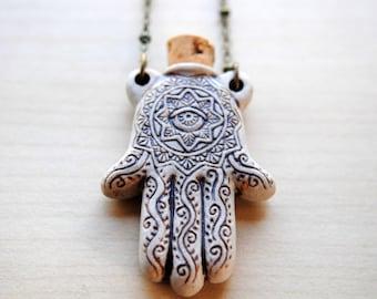 Hamsa Hand Potion Pendant -- Raku Bottle -- Gypsy Jewelry -- Ceramic Bottle Pendant -- Hamsa Hand Necklace -- Boho chic