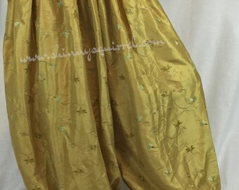Mustard colored lightweight taffeta emboidered harem pants for fusion, tribal, bellydance