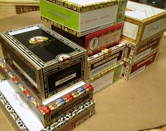 Wedding Center piece 10 pc Cigar Box lot - macanudo, romeo & juliet, cohiba, fuente,