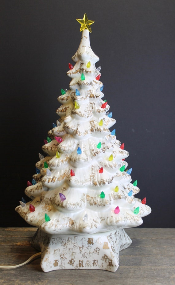 1960s White And Gold Lighted Ceramic Christmas Tree Multi
