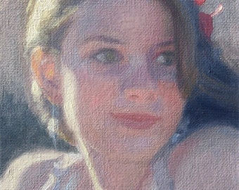 Sunshine. Original Figurative Oil painting on canvas panel, 18 x12 cm(7 x 4.7 in). Free Shipping Worldwide