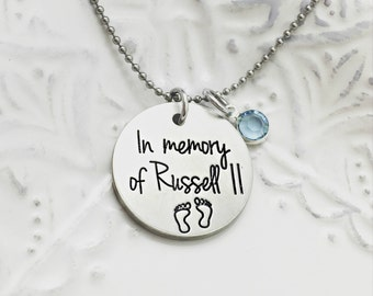 In Memory Of () - Custom Loss Memorial Remembrance Miscarriage Necklace- Hand Stamped Jewelry - Personalized Jewelry - Engraved Jewelry