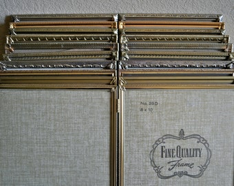 1-Mystery Double Hinged 8x10 Picture Frame / Lovely Gold & Silver Toned Metals / Art Deco Ornate Filigree / Wedding Table Decor / Antique