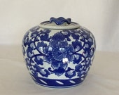 """Jar Blue and White Liddded Abstract Floral Design Stands 7"""""""