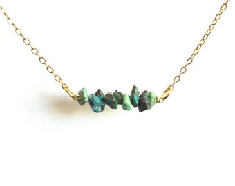 Tiny Turquoise Gemstone Bar Necklace, Delicate Turquoise Necklace, Raw Turquoise Necklace, Turquoise Nugget Necklace, Thin Gold Necklace