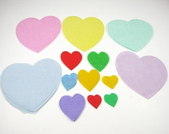 Heart Appliques Various Sizes and Colors Vintage Iron On Cut Outs Lot of 35