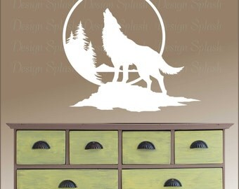 wolf wall decal wolf howling at the moon art home wall decor vinyl