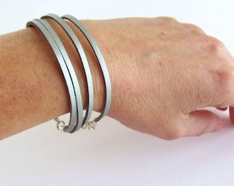 Silver Leather Bracelet, Metallic Silver Suede Bracelet, Thick Leather Jewelry, Multi Strand Bracelet