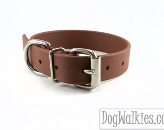 "Biothane Dog Collar - Milk Chocolate 1"" (25mm) - Leather Look and Feel - Custom Collar - Stainless steel or Brass Hardware - Waterproof"