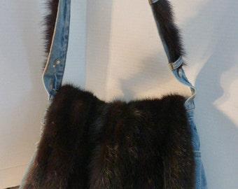 Vintage Denim And Vintage Mink Custom Made Shoulder Bag, FABULOUS !