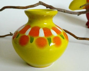 "Small Bright Yellow & Orange Artisan Crafted ""Ceramica Artelis"" Bud Vase- Venezuela Ceramic Pottery Funky Art Abstract"
