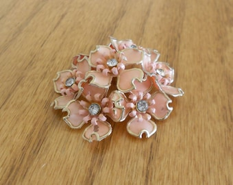 Collectible enamel vintage brooch.  Floral.  rhinestones
