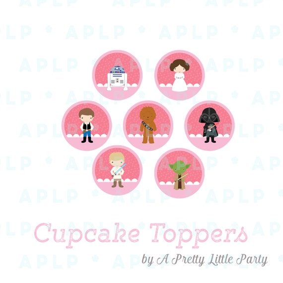Leia Cupcake Toppers - Circle Decals - Star Wars - INSTANT DOWNLOAD