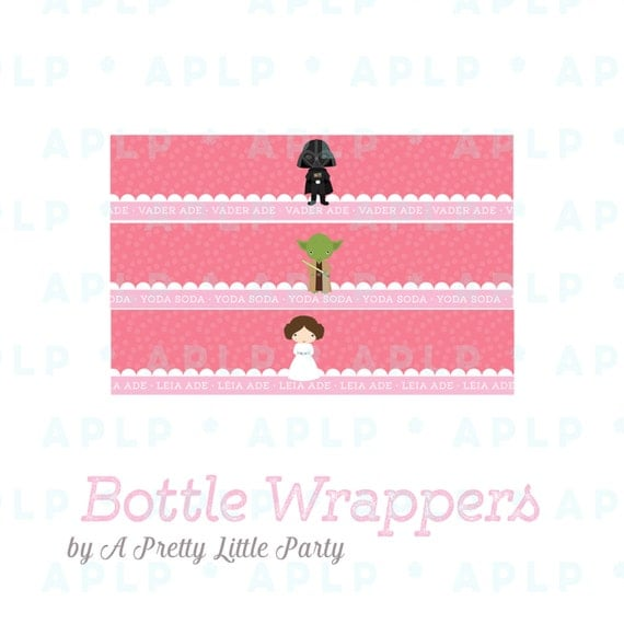 Leia Bottle Wrappers - Digital files - Star Wars Party Supplies - INSTANT DOWNLOAD