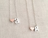 Personalized Initial Heart Necklace, Rose Gold Heart Necklace, Best Friend Jewelry, Bridal Gift, Bridesmaid Necklace, Kid's Initial Necklace