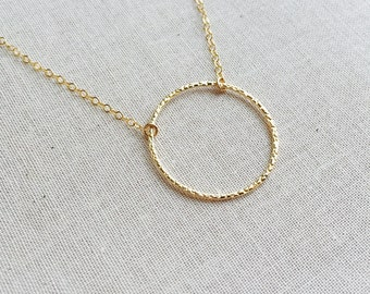 14k Gold Filled Ring Necklace- Eternity Necklace, Best Friends Necklace, Circle Charm Necklace, Round Circle Necklace, Mother's Day Gift