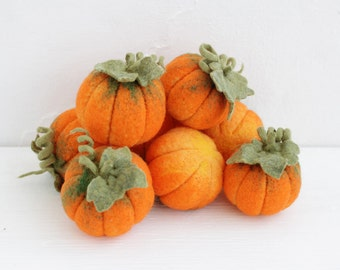Set of eight needle felted pumpkins, Halloween and Thanksgiving home decor, Eco decorations.