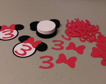 30 Minnie Mouse Heads,Red Bow Die Cuts With Number, DIY Cupcake Toppers, Birthday Party Decorations
