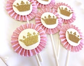 Pink and Gold Bow Rosette Cupcake Toppers | Glitter Bow Cupcake Toppers| Pink and Gold Party | 1st Birthday | Glitter Gold Crown