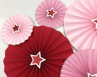 8 Pc American Doll Decor | Hot Pink Ballerina Rosettes Backdrop |  Star Birthday Party Rosettes | Photo Booth Backdrop