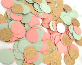 Mint, Coral and Gold Glitter Confetti | Mint and Coral Gold Bridal Shower | Table Decor | Mint and Gold Party | Wedding Confetti | 150 CT