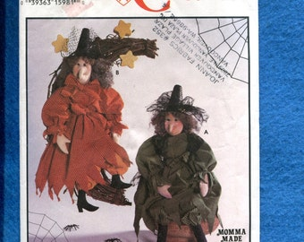 Simplicity 9193 Rustic Witches Soft Sculptured Dolls Size 16 inch Doll UNCUT