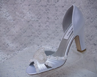 Ready to Ship Size 8 1/2 White Art Deco Shoes, Thick Square Heels, Art Deco style, Peep Toe D'Orsay White Pumps, Comfortable Heels