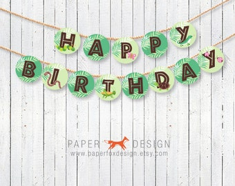 Bug and Reptile Birthday Banner Printable - Creepy Crawly