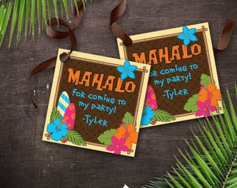 Hawaiian Tiki Favor Gift Tags Printable