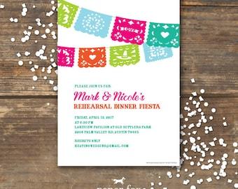 Fiesta Rehearsal Dinner Invitation Printable - Wedding - Papel Picados