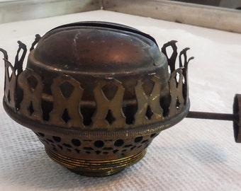 """Brass Oil Lamp Burner """"The Solar"""" E.M. & Co."""