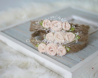 NEWBORN TIEBACK {Peaches} Newborn Headband, Newborn Photo Props, Photography Props, Newborn Headbands, Newborn Flower Crown, Newborn Crown