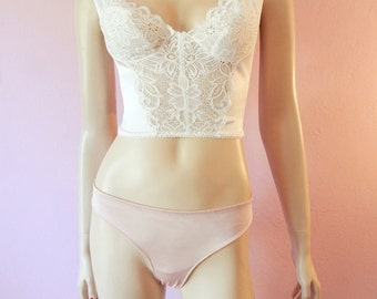 Victoria's Secret- White Lace Long Line Bra- 34B