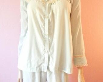 Barbizon- Minty Ice Blue Cotton 2 Piece Pajama Set- Christmas Pajamas- Small
