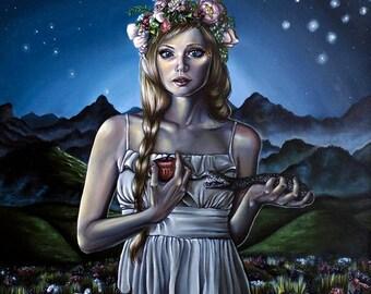 Virgo Girl with Flower Crown & Apple Zodiac Surreal  Fantasy Art Print A4 Size
