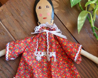Handmade Wooden Spoon Doll, Spoon Doll in Red Calico Dress