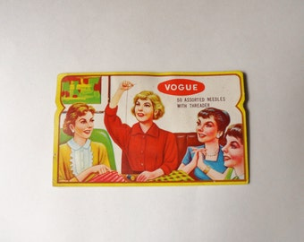 Assorted Vogue Sewing Needles, Sewing Needle Card, Paper Booklet of 50 Needles and Threader